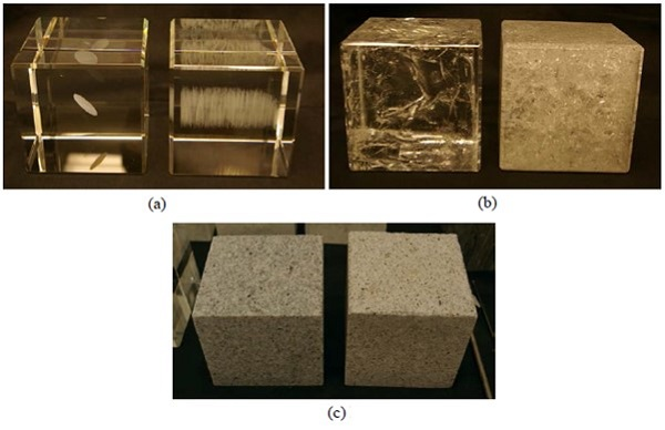 Figure 1: Analogue/rock samples prepared using the following techniques for producing preexisting fractures: (a) 3D laser engraved fractures, (b) Thermal-shrinkage-induced fractures, and (c) Phase-transition-induced cracks in granite (block on the right was heated above the α−β quartz transition point)