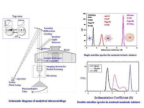 Analytical ultracentrifuge for identifying polymer/surfactant complexes by synchronous monitoring of their sedimentation during centrifugation.