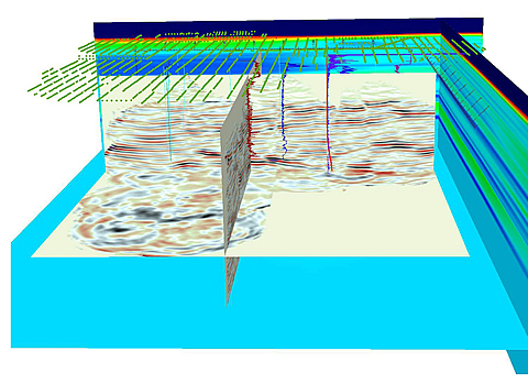 This example of the software display shows a multi-well 3-D VSP image displayed together with velocity model, well-log curves, well trajectories, and source points.