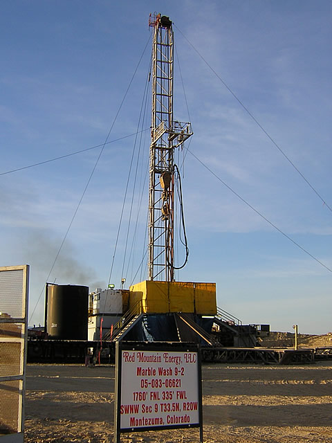 The rig drilling Marble Wash 9-2 well based on the seismic survey