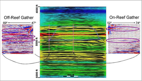 The processed crosswell seismic image is shown in color, with colors representing seismic velocities, and the overlay showing the seismic reflection traces as wiggles with positive values blackened. Note that the vertical axis is depth in feet, not time. The approximate outline of the reef is sketched in. Two seismic gathers displaying the amplitudes as a function of angle are shown—one (on the left) is for a region off-reef, as indicated by the vertical line, and the other is on-reef. Some specific events are highlighted by ovals showing profound AVA character. Note that the center of the reef appears to be an area of low-amplitude reflections, in this image using a very wide range of angles in stacking