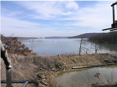 A view of the brine pit and cove at which the study is being conducted on Skiatook Lake. Photo by J. Bidwell.