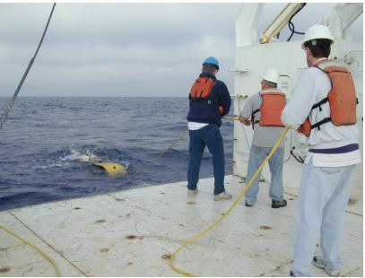 R/V Pelican crew deploying the DT1 instrument in the Gulf of Mexico, over Atwater Valley.