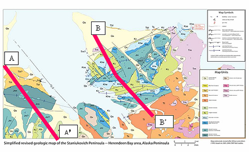 Generalized geologic map of the Staniukovich Peninsula southwest of Port Moller (from P.L. Decker; modified from Wilson and others, 1995)