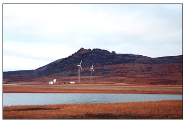 2 AOC 15-50 Wind Turbines at Wales Village, AK. Photo courtesy The Alaska Energy Authority