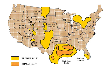 U.S. bedded and domal salt formations