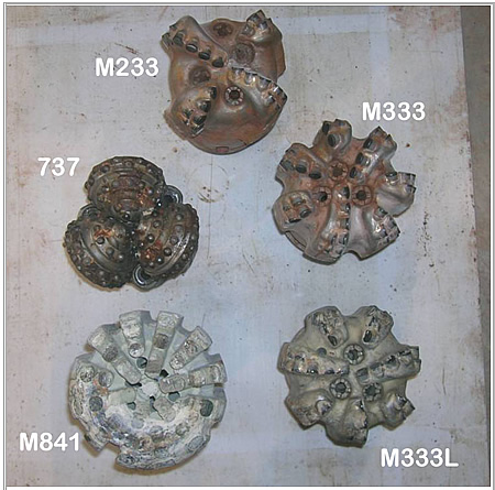 "Bits used in Phase II testing: impregnated, 4-blade and two 7-blade PDC, and roller cone, all 6""."