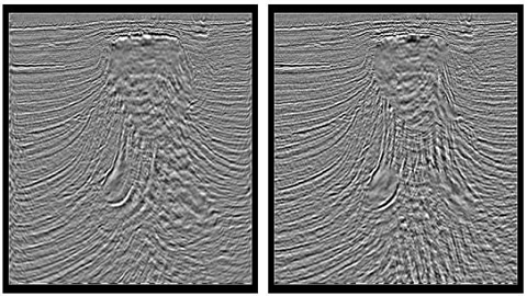 Comparison between wave equation imaging with 3 km aperture (left) and 10 km aperture (right).Note improved imaging of steeply dipping beds.