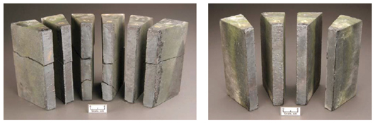 Conventional (left) and phosphate-modified (right) chrome oxide refractory materials after rotary slag testing. New materials research and development, like this improved refractory material aims to improve gasifier availability.