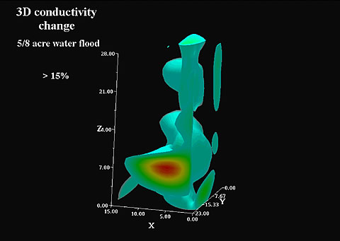 A 3-D image of resistivity change during a waterflood of Lost Hills oilfield in California.