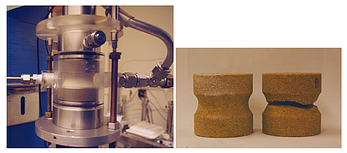 Researchers developed and used a new testing method (modified uniaxial compression test) to study borehole breakout and sanding in synthetic and natural sandstone cores (Castlegate sandstone cores before and after an experiment are shown). The test allows a continuous observation of breakout growth during an experiment while fluid is circulated around and within a small rock core.