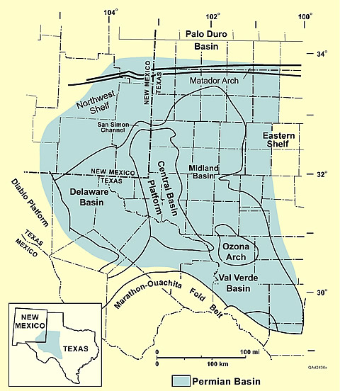 Major subdivisions and boundaries of the Permian Basin in west Texas and southeast New Mexico.