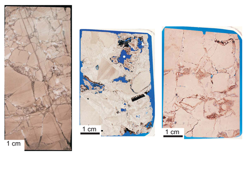 Three samples of Lower Ellenburger carbonate reservoir rock displaying signs of karst-related fracturing. The sample at left shows multiple generations of karst-related fractures. The middle sample shows interclast pores related to karst processes. The sample at right shows crackle breccia pores related to karst processes.