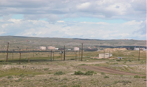View of Salt Creek oil and gas production field and facilities near Edgerton, WY.