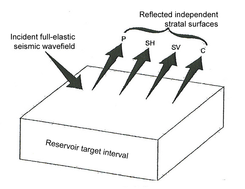 Comparison of conventional seismic stratigraphy and elastic-wavefield seismic stratigraphy. Conventional seismic stratigraphy utilizes only P-wave mode. Elastic-wavefield seismic stratigraphy utilizes all elastic modes, P, SH, SV, and C.