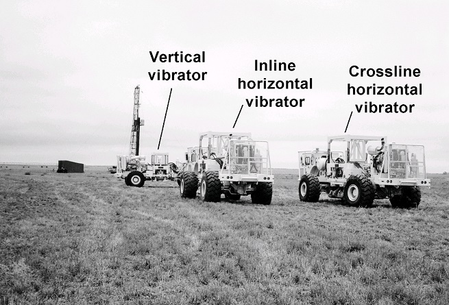 Orthogonal vibrators used to generate 9-component vertical seismic profile.
