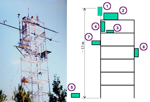 The tower at the Blodgett Forest field site. The boxes mounted on the tower contain the aerosol equipment. The adjoining schematic shows the locations of the aerosol instrumentation on the tower: (1) 2.5 mm cyclone inlet, (2) aethalometer, (3) condensation particle counter, (4) scanning mobility particle scanner, (5) optical particle sizer, (6) nephelometer, and (7) filter samplers.