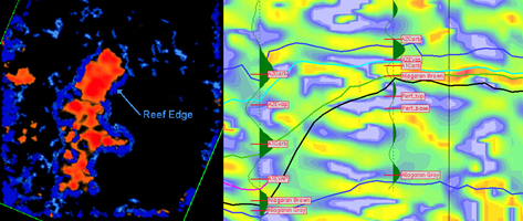 (left) Composite Blended Seismic Attribute display. This display combines high amplitude and high variance for two time slices (855 and 860 msec.) and clearly shows the reef's edge. (right) Instantaneous Frequency Display. Shown are two synthetic seismograms for two wells (on and off reef) used for well-to-seismic ties overlain on an Instantaneous Frequency slice through the reef. Note the low-frequency zone (blue) corresponding to the perforated (high-porosity) interval.