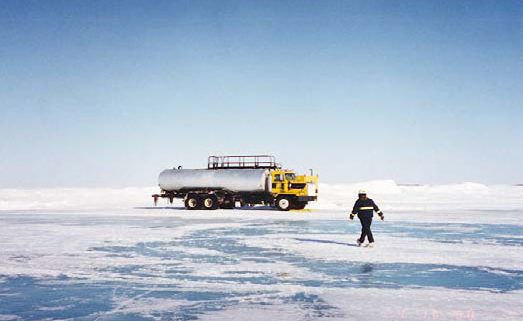 Construction of ice roads is crucial for Alaskan North Slope operators to gain access to the slope for exploration and development in an economic and environmentally sound manner.