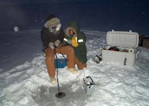 Midwinter testing and sampling of a North Slope lake.