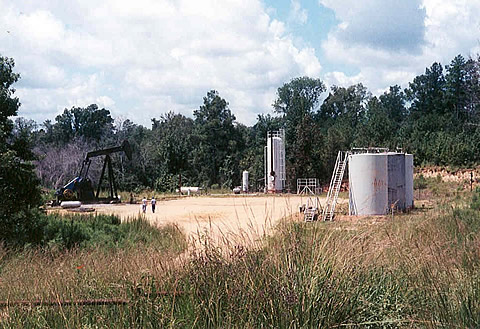 View of a typical oilfield sampling site in the Black Warrior Basin of Mississippi.