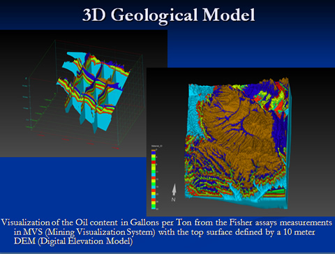 3D Geological Model - Visualization of the Oil content in Gallons per Ton from the Fisher assays measurements in MVS (Mining Visualization System) with the top surface defined by a 10 meter DEM (Digital Elevation Model)