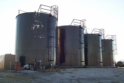 An onshore tank battery, often one of the problematic sites for the U.S. oil and gas industry's issues with produced water.