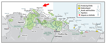 The Milne Point field, one of a number of distinct oil fields on the North Slope, extends offshore into the Beaufort Sea and is situated north of the large Kuparuk Field and northwest of the well known Prudhoe Bay Field.
