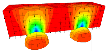 Figure 8: Preliminary 3-D proppant embedment simulation using the TOUGH-FLAC simulator