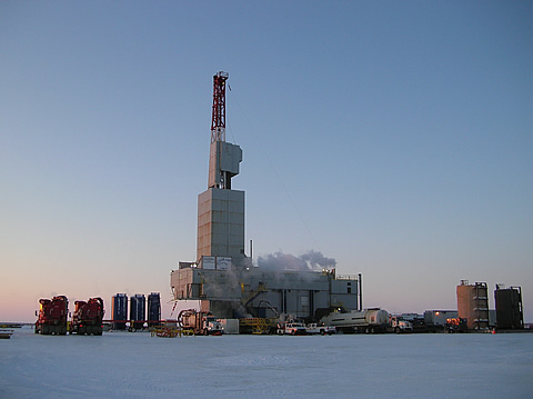 Nordic-Calista Drilling Rig #3 on site at the Ignik Sikumi #1 well,  Prudhoe Bay Unit, Alaska North Slope - photo courtesy ConocoPhillips