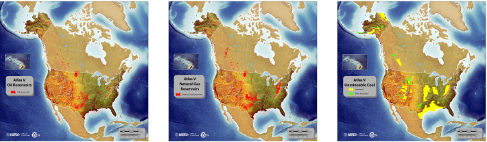 Images depicting the oil reservoirs, natural gas reservoirs, and unmineable coal storage resources in the United States and portions of Canada.