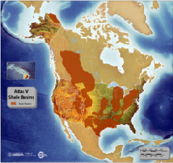 Image depicting basins containing organic-rich shales in the United States and portions of Canada.