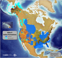 Image depicting the saline storage resources in the United States and portions of Canada. Extensive saline formations exist in the large sedimentary basins located across the country.